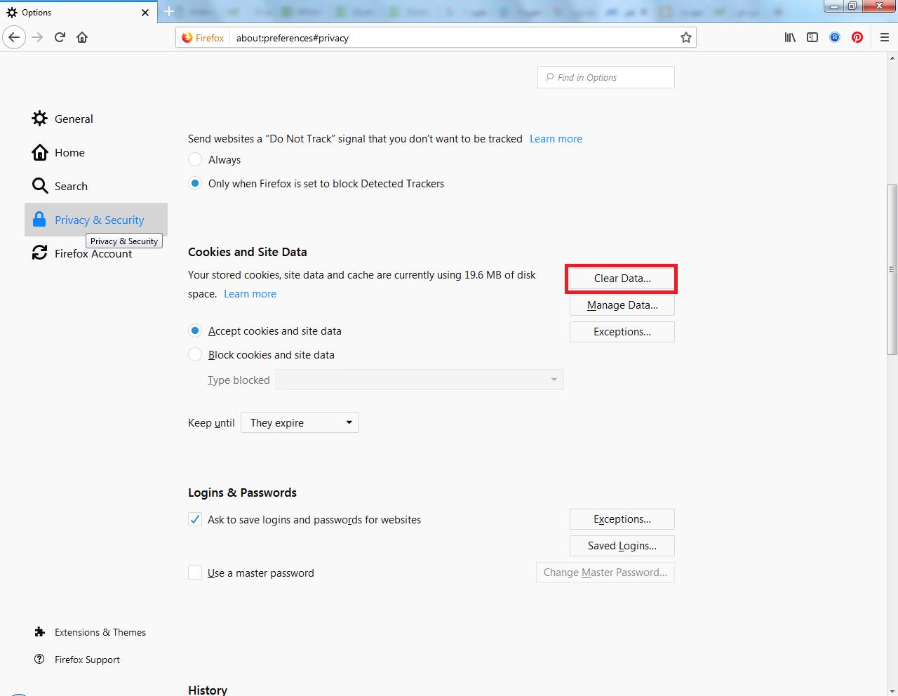 پاک کردن کش فایرفاکس بخش حریم خصوصی و امنیت
